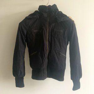 Short Parka TNA Bomber Jacket with Faux Fur Hood